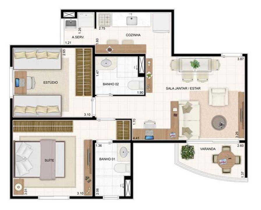 2 dorms 55m² | Vita 2 Residencial Clube – Apartamentono  Pitimbu - Natal - Rio Grande do Norte