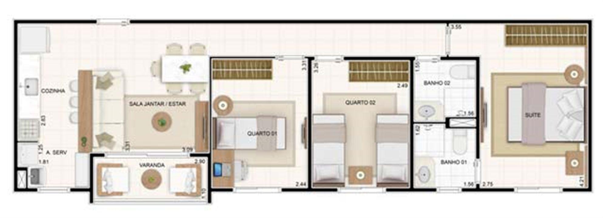 3 dorms 67,35m² | Vita 2 Residencial Clube – Apartamentono  Pitimbu - Natal - Rio Grande do Norte
