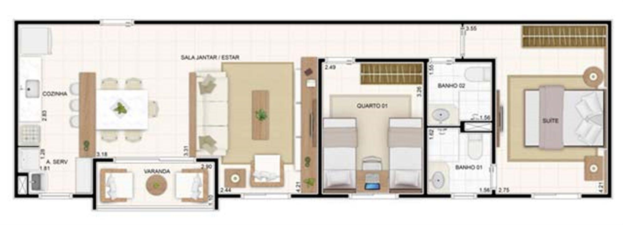 3 dorms Sala Ampliada 67,35m² | Vita 2 Residencial Clube – Apartamentono  Pitimbu - Natal - Rio Grande do Norte