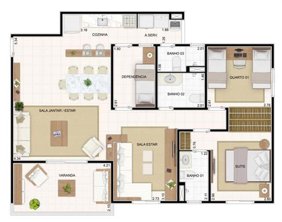 3 dorms Sala Ampliada 89,19m² | Vita 2 Residencial Clube – Apartamentono  Pitimbu - Natal - Rio Grande do Norte