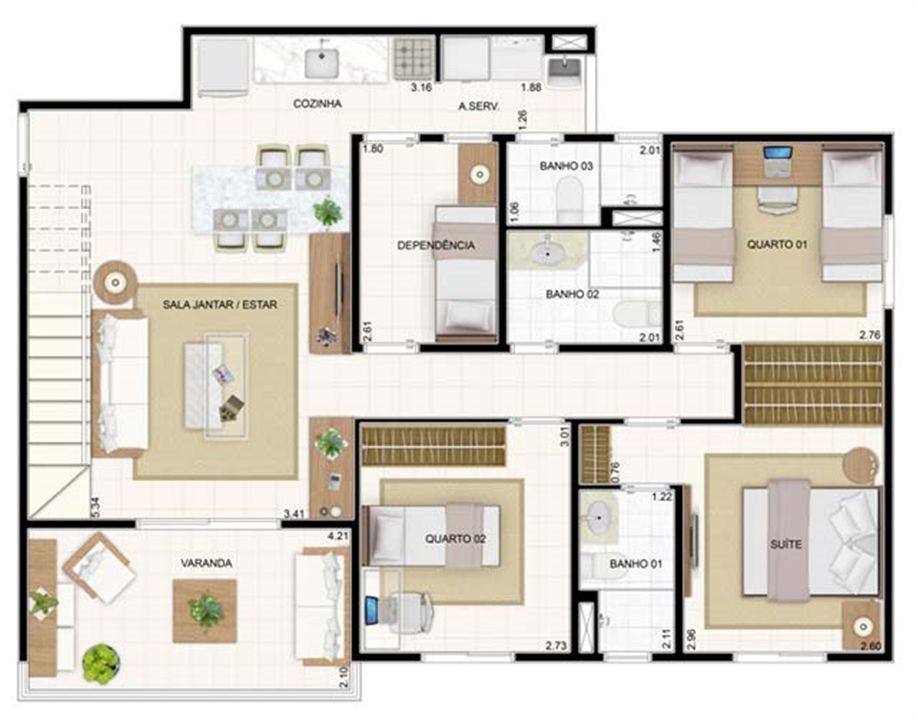 Duplex Inferior 3 dorms 176,57m² | Vita 2 Residencial Clube – Apartamentono  Pitimbu - Natal - Rio Grande do Norte