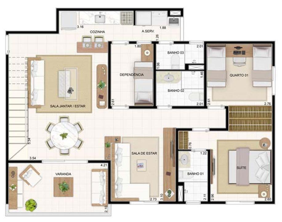 Duplex Inferior Sala Ampliada 3 dorms 176,57m² | Vita 2 Residencial Clube – Apartamentono  Pitimbu - Natal - Rio Grande do Norte