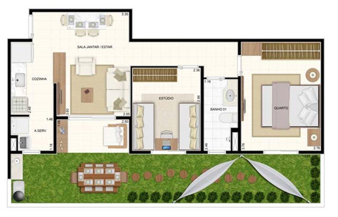 Giardino 2 dorms 70m² | Vita 2 Residencial Clube – Apartamentono  Pitimbu - Natal - Rio Grande do Norte
