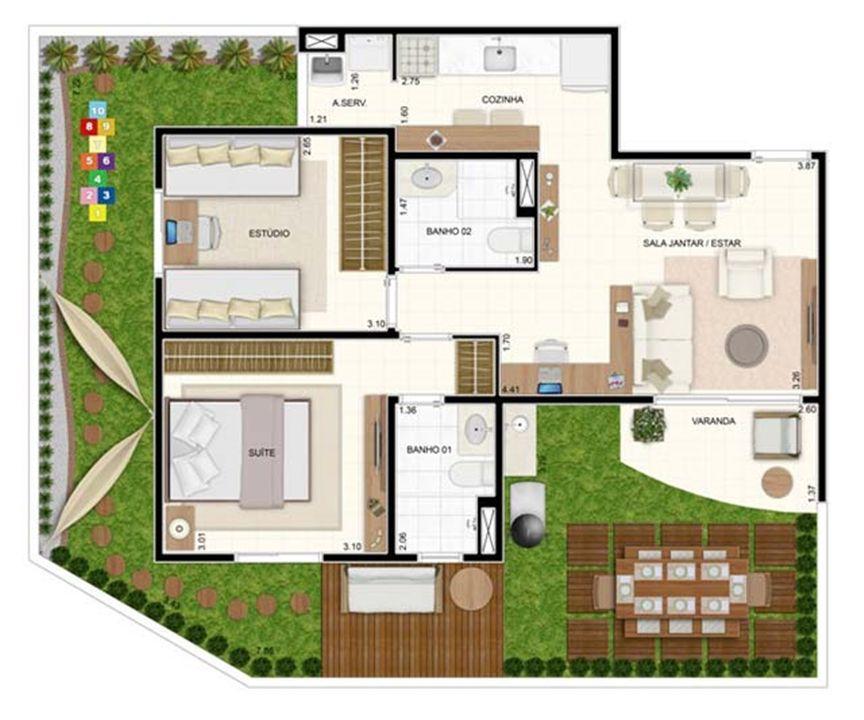 Giardino 2 dorms com Suíte 93,56m² | Vita 2 Residencial Clube – Apartamentono  Pitimbu - Natal - Rio Grande do Norte