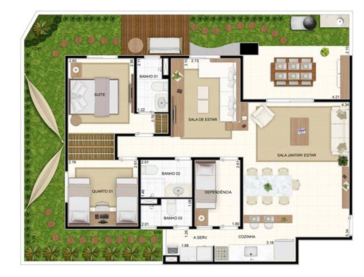 Giardino 3 dorms Sala Ampliada 129,10m² | Vita 2 Residencial Clube – Apartamento no  Pitimbu - Natal - Rio Grande do Norte