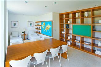 Perspectiva ilustrada da sala de leitura