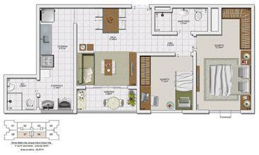 Planta 2 quartos - 54,67 m² | Vita Residencial Clube - Salvador – Apartamento em  Lauro de Freitas - Salvador - Bahia