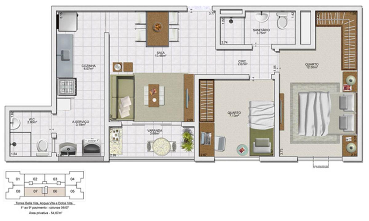 Planta 2 quartos - 54,67 m² | Vita Residencial Clube - Salvador – Apartamentoem  Lauro de Freitas - Salvador - Bahia
