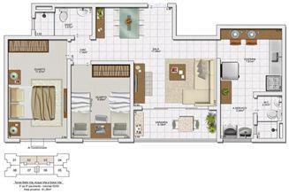 Planta 2 quartos - 61,28 m² | Vita Residencial Clube - Salvador – Apartamento em  Lauro de Freitas - Salvador - Bahia