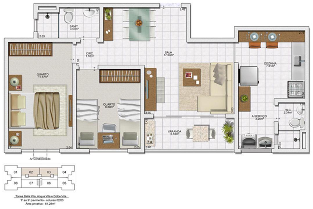 Planta 2 quartos - 61,28 m² | Vita Residencial Clube - Salvador – Apartamentoem  Lauro de Freitas - Salvador - Bahia