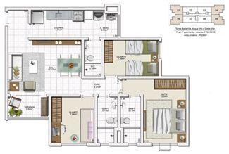Planta 3 quartos - 70,39 m² | Vita Residencial Clube - Salvador – Apartamento em  Lauro de Freitas - Salvador - Bahia