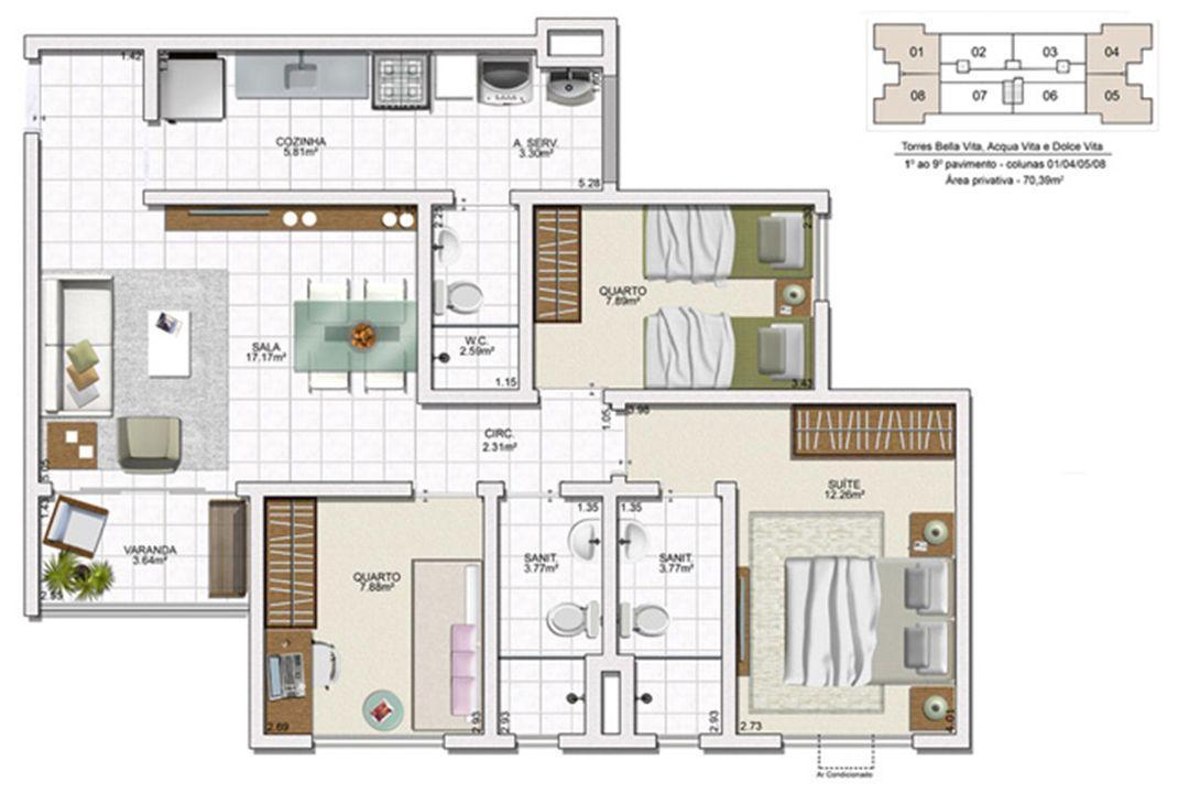 Planta 3 quartos - 70,39 m² | Vita Residencial Clube - Salvador – Apartamentoem  Lauro de Freitas - Salvador - Bahia