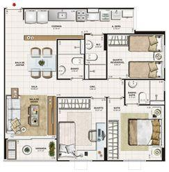 Planta 3 quartos (1 suíte) - 75 m² | Vita Praia - Recife – Apartamento em  Piedade - Recife - Pernambuco