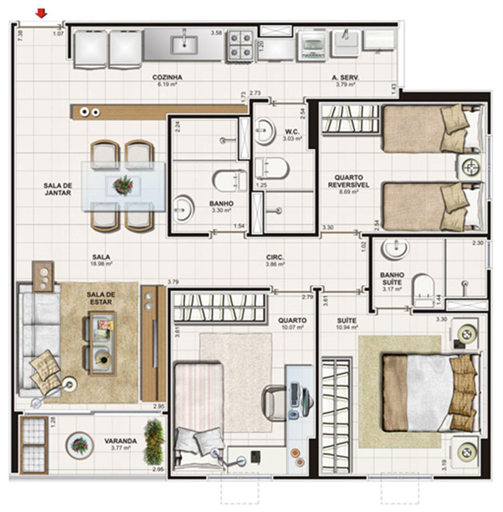 Planta 3 quartos (1 suíte) - 75 m² | Vita Praia - Recife – Apartamentoem  Piedade - Recife - Pernambuco
