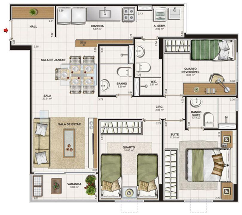 Planta 3 quartos (1 suíte) - 76 m² | Vita Praia - Recife – Apartamentoem  Piedade - Recife - Pernambuco