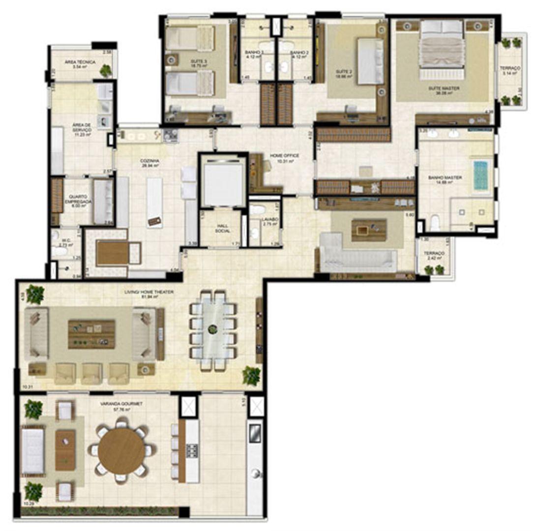Planta ampliada 305 m² - Cozinha ampliada e Home Theater reservado - Pavimentos ímpares | Île Saint Louis  – Apartamento na  Ponta D'areia - São Luís - Maranhão