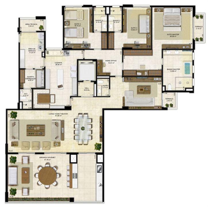 Planta ampliada 305 m² - Cozinha ampliada e Home Theater reservado - Pavimentos ímpares | Île Saint Louis  – Apartamentona  Ponta D'areia - São Luís - Maranhão