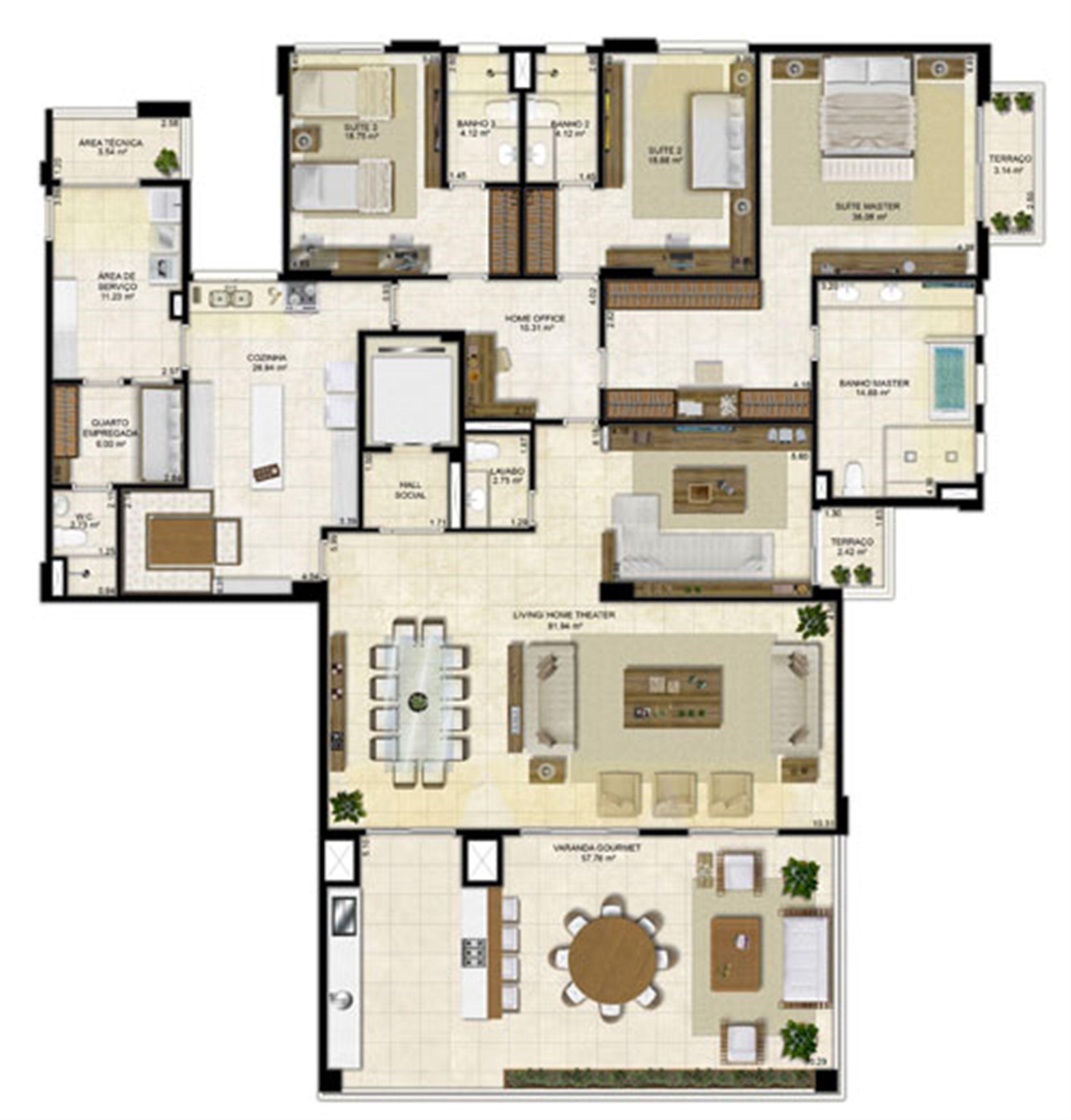 Planta ampliada 305 m² - Cozinha Ampliada e Home Theater reservado – Pavimentos Pares | Île Saint Louis  – Apartamento na  Ponta D'areia - São Luís - Maranhão
