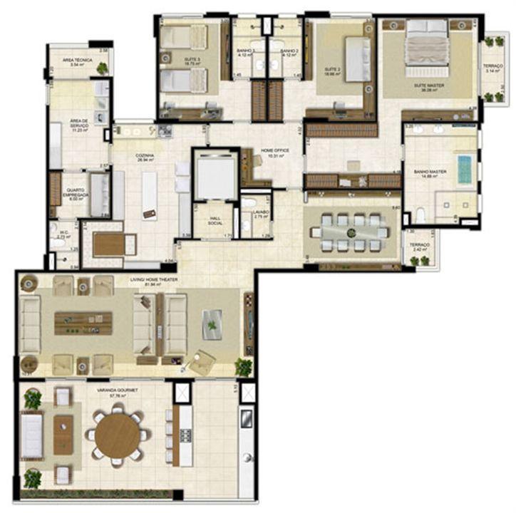 Planta ampliada 305 m² - Cozinha ampliada e Sala de Jantar reservada - Pavimentos ímpares | Île Saint Louis  – Apartamentona  Ponta D'areia - São Luís - Maranhão