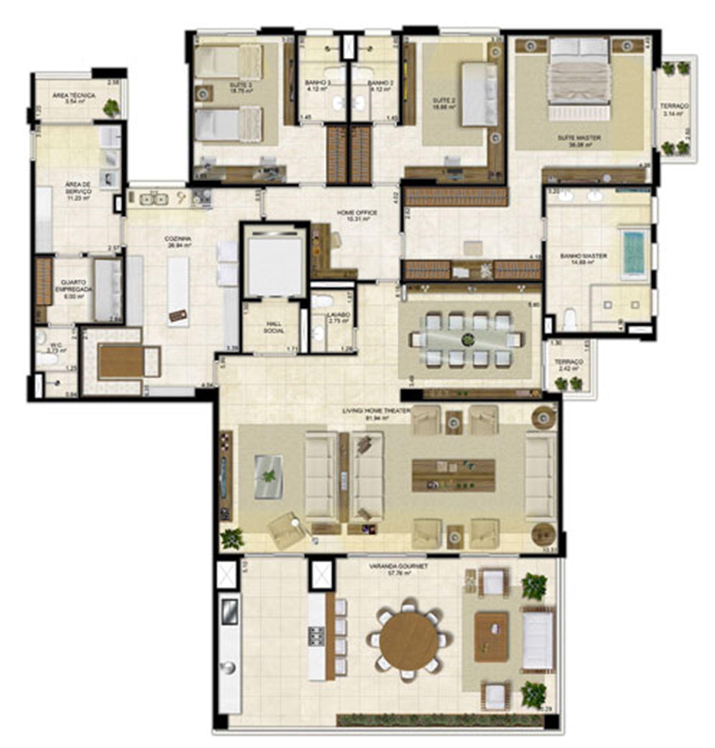 Planta ampliada 305 m² - Cozinha Ampliada e Sala de Jantar reservada – Pavimentos Pares | Île Saint Louis  – Apartamento na  Ponta D'areia - São Luís - Maranhão