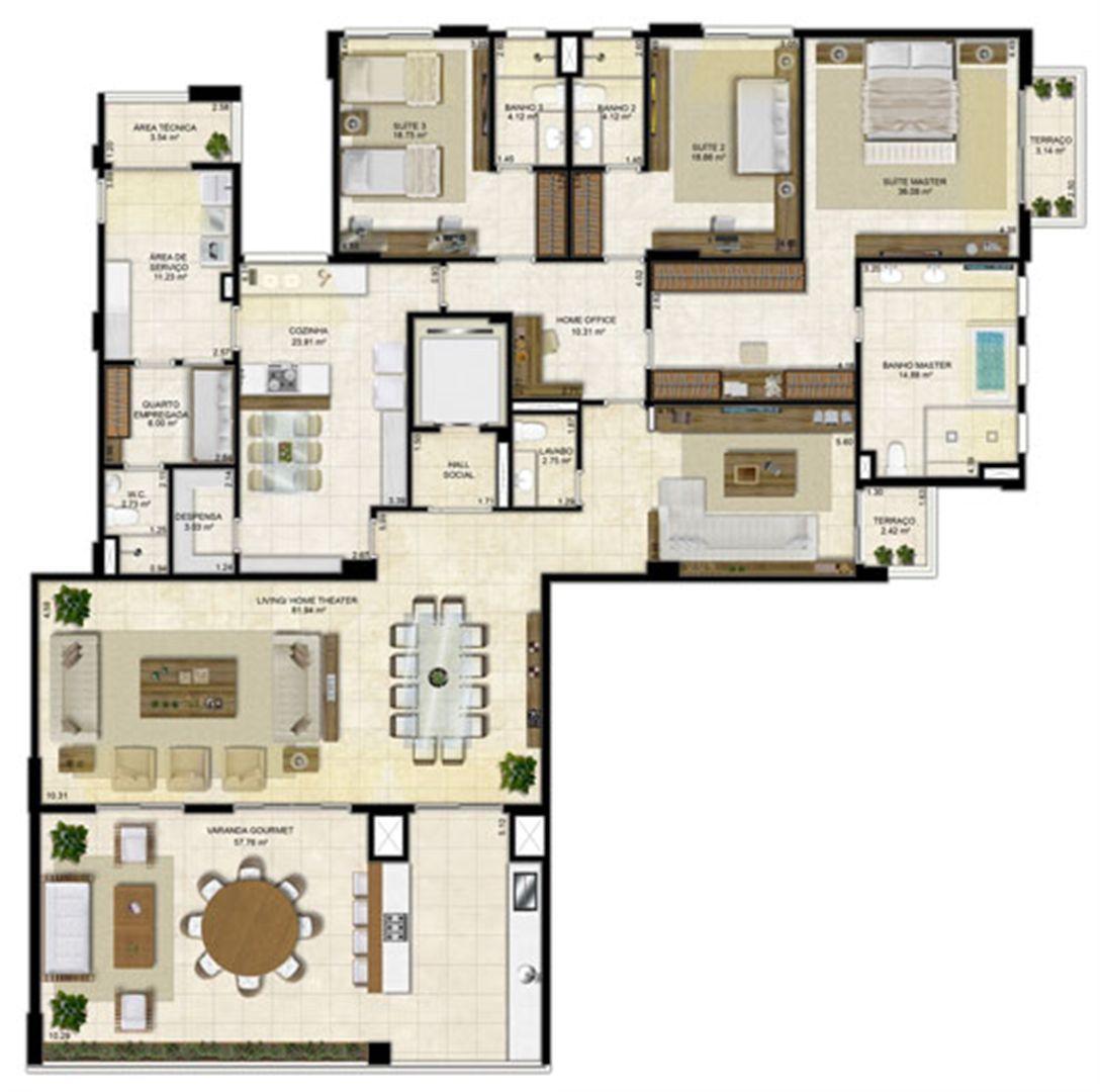 Planta ampliada 305 m² - Pavimento Ímpar | Île Saint Louis  – Apartamento na  Ponta D'areia - São Luís - Maranhão