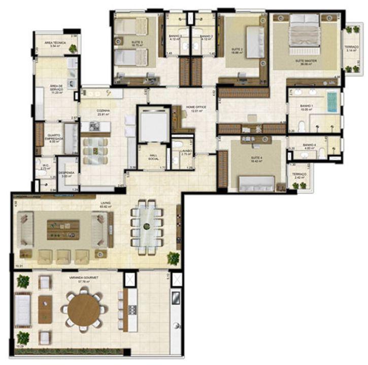 Planta Tipo 305 m² - Pavimento ímpar-2 | Île Saint Louis  – Apartamentona  Ponta D'areia - São Luís - Maranhão
