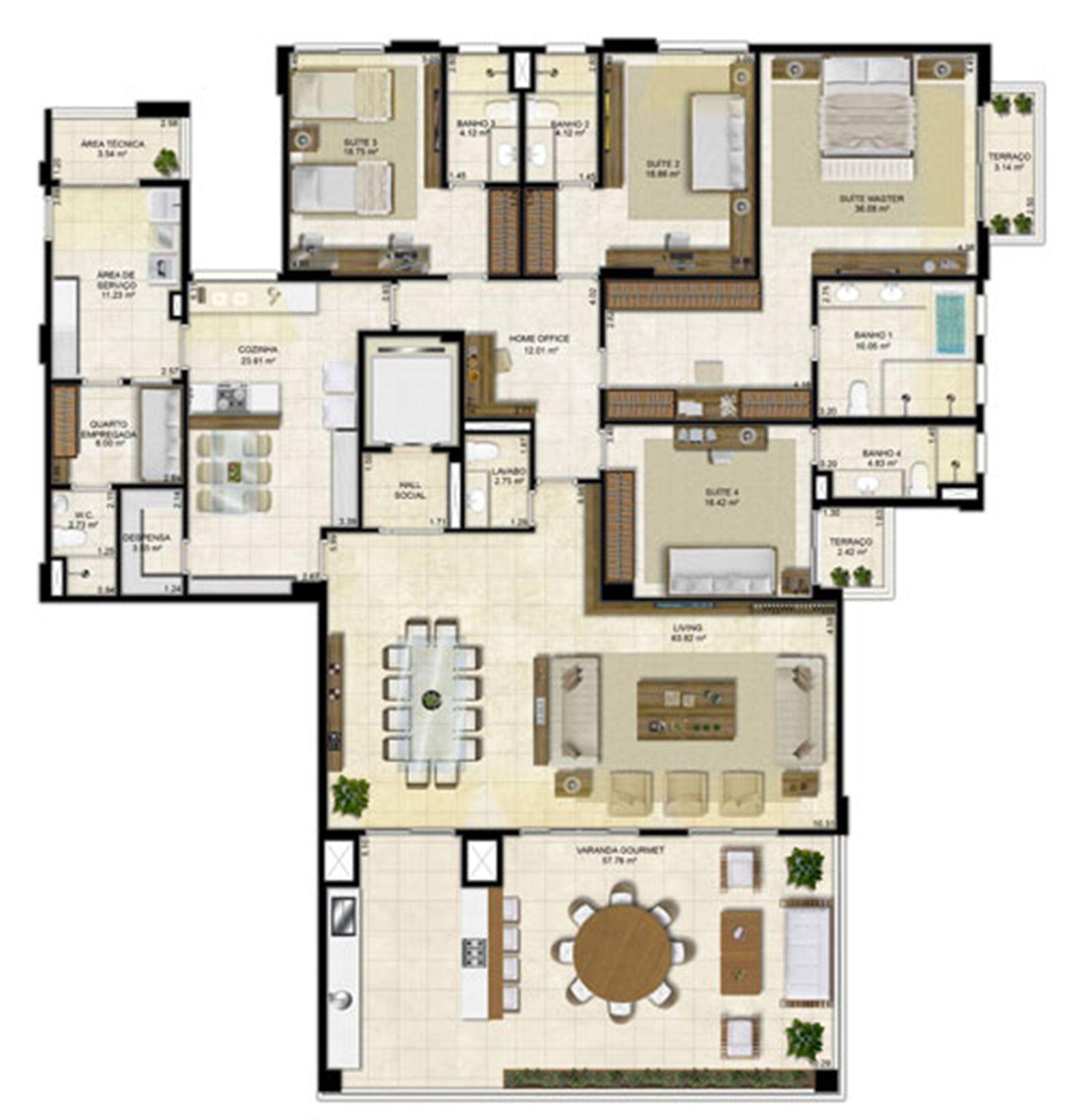 Planta Tipo 305 m² - Pavimento par | Île Saint Louis  – Apartamentona  Ponta D'areia - São Luís - Maranhão