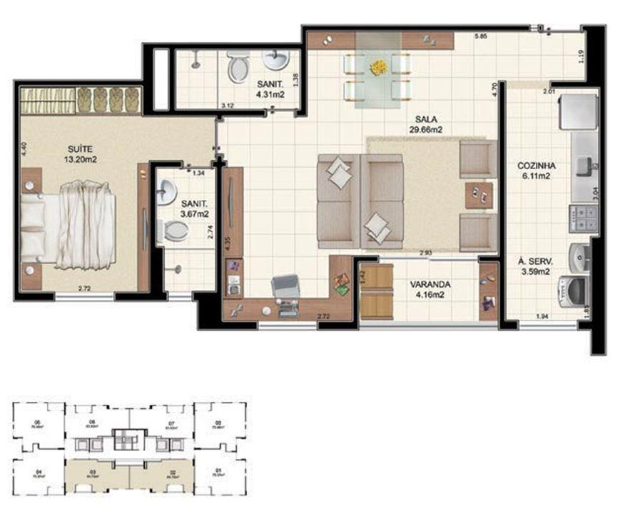 Planta Tipo 2 quartos - 64,70 m² | Morada Alto do Imbuí – Apartamentono  Alto do Imbuí - Salvador - Bahia