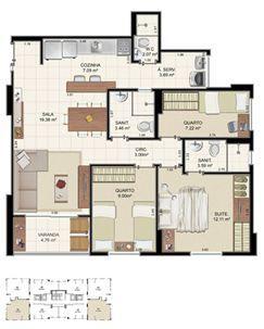 Planta Tipo 3 quartos - 75,37 m² | Morada Alto do Imbuí – Apartamento no  Alto do Imbuí - Salvador - Bahia