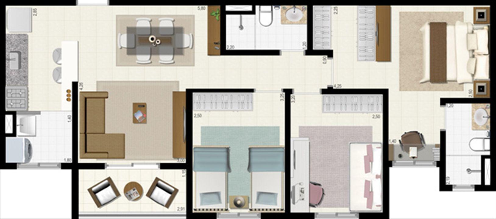 Planta 72 m² | L´Acqua Condominium Club – Apartamentoem  Neópolis - Natal - Rio Grande do Norte
