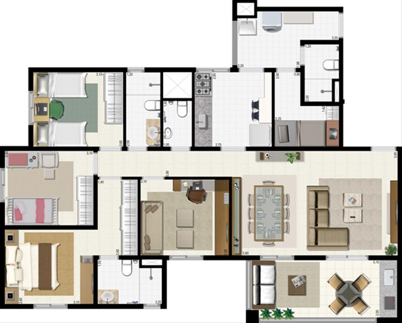 Planta 114 m² | L´Acqua Condominium Club – Apartamento em  Neópolis - Natal - Rio Grande do Norte