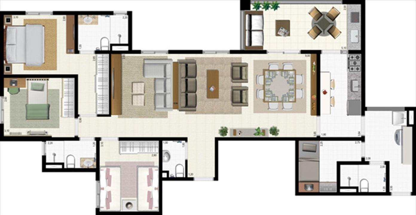 Planta 117 m² - ampliada | L´Acqua Condominium Club – Apartamentoem  Neópolis - Natal - Rio Grande do Norte