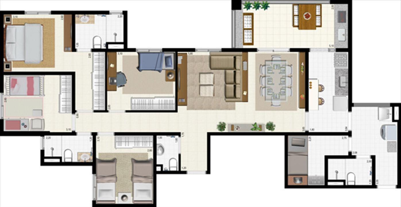 Planta 117 m² | L´Acqua Condominium Club – Apartamentoem  Neópolis - Natal - Rio Grande do Norte