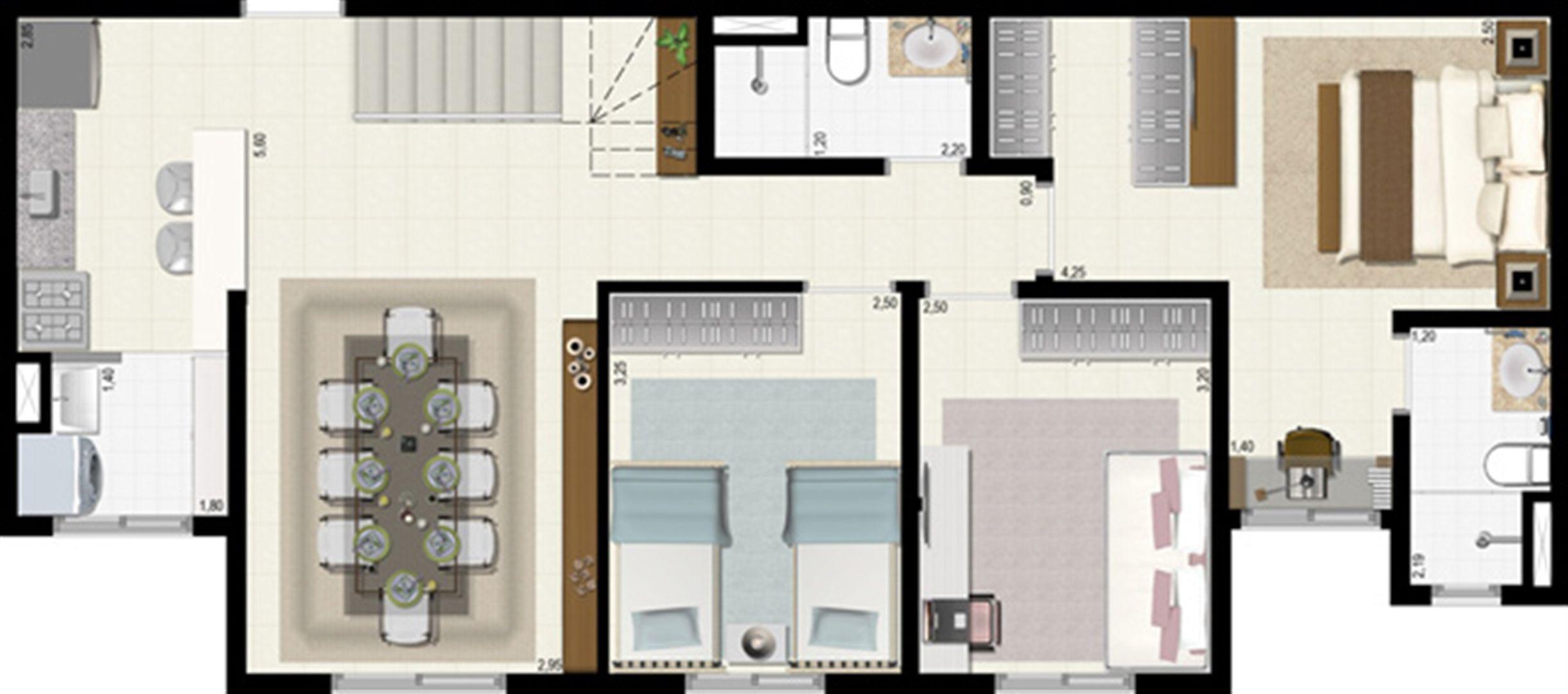 Planta duplex 126 m² - inferior | L´Acqua Condominium Club – Apartamento em  Neópolis - Natal - Rio Grande do Norte