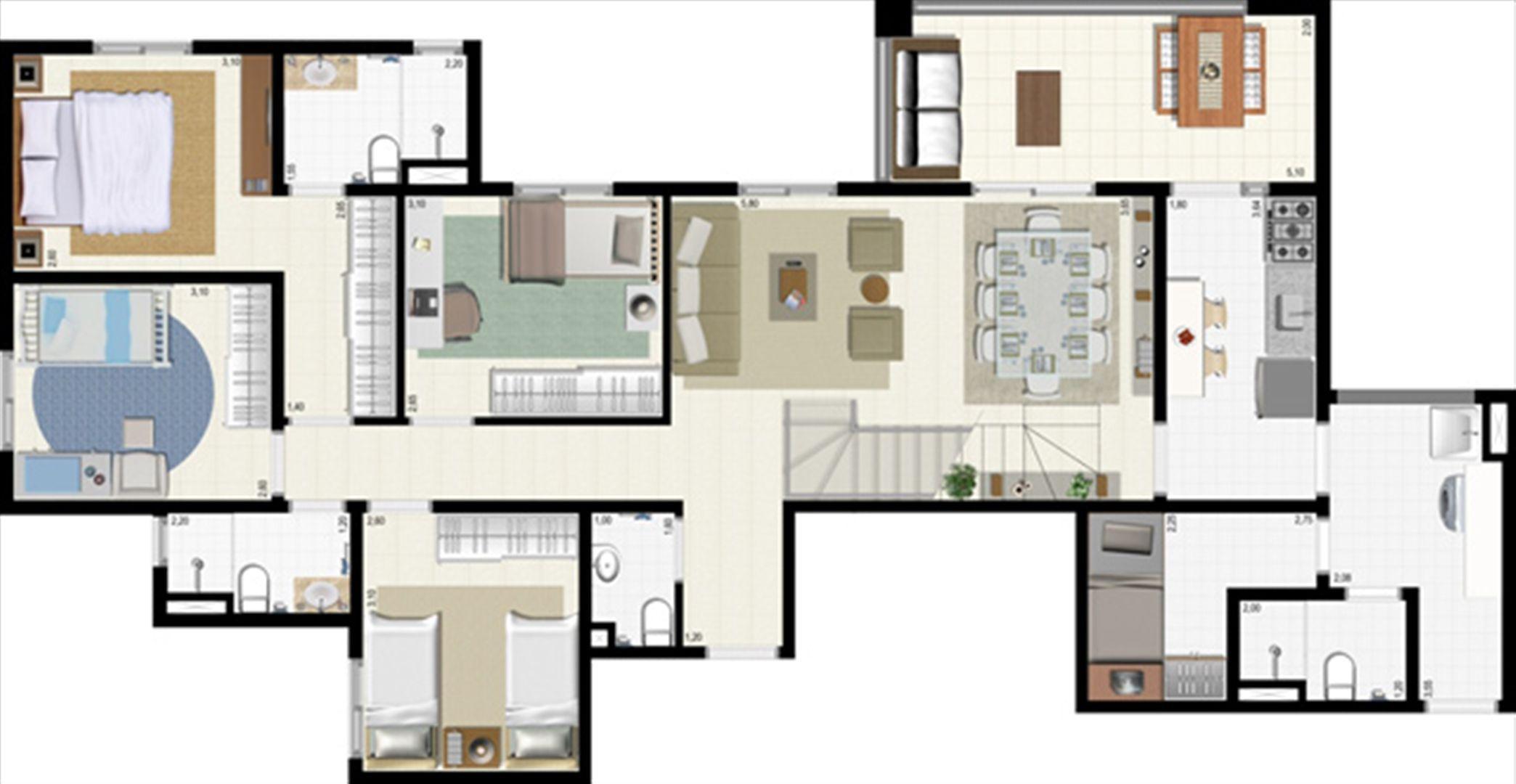 Planta duplex 191 m² - inferior | L´Acqua Condominium Club – Apartamento em  Neópolis - Natal - Rio Grande do Norte