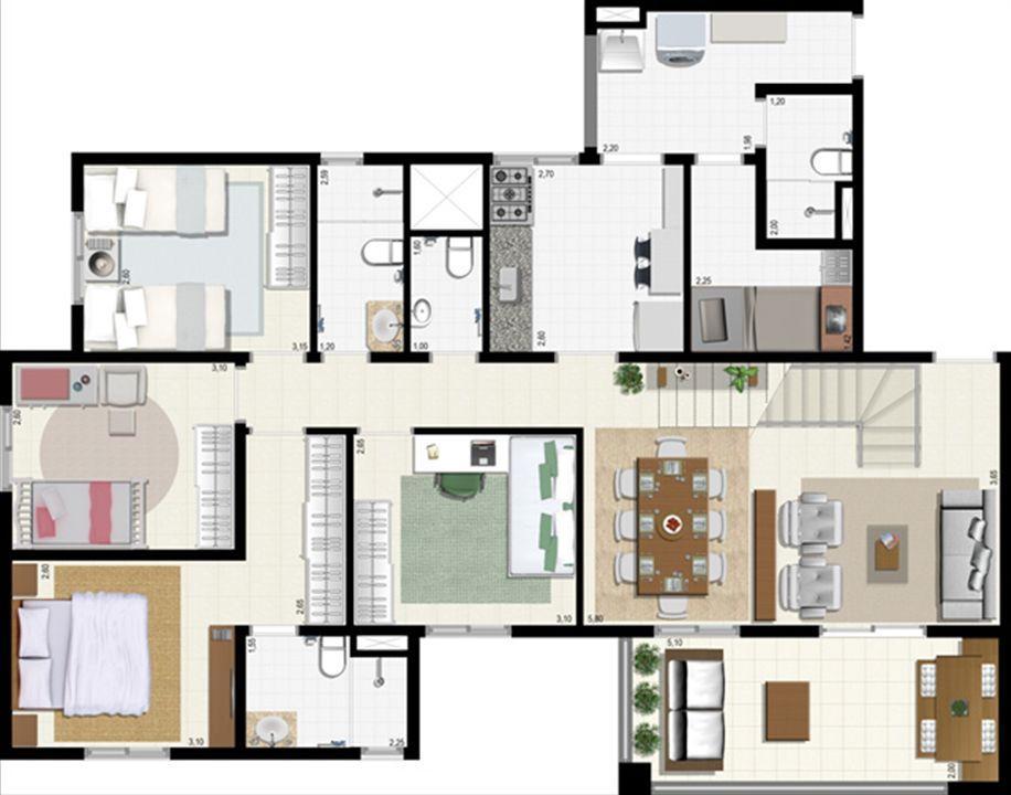 Planta duplex 207 m² - inferior | L´Acqua Condominium Club – Apartamentoem  Neópolis - Natal - Rio Grande do Norte