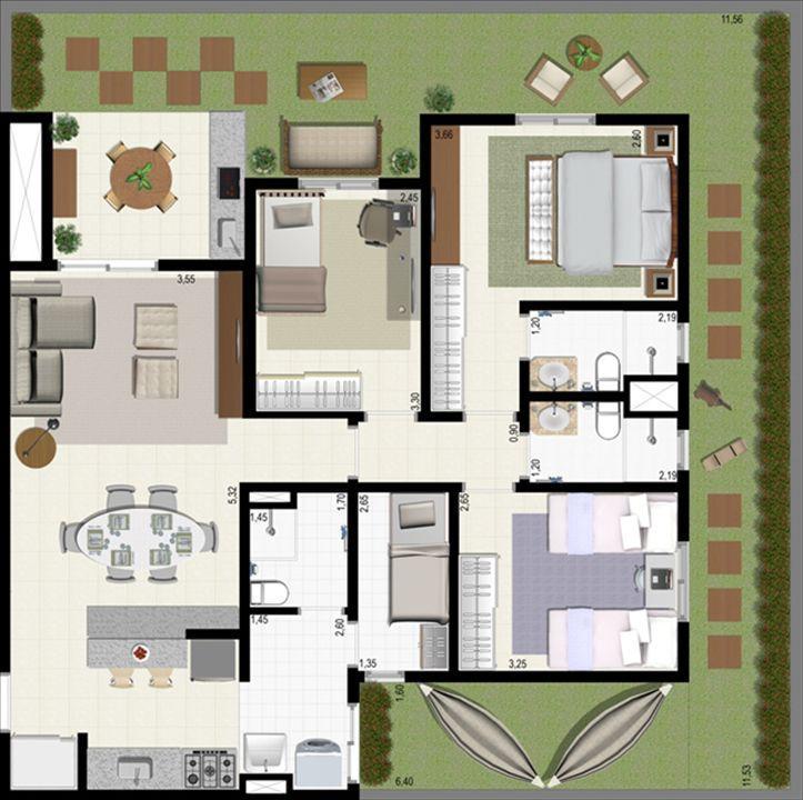 Planta giardino 140 m² A | L´Acqua Condominium Club – Apartamentoem  Neópolis - Natal - Rio Grande do Norte