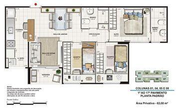 Planta tipo 63 m²   Vita Residencial Clube Recife – Apartamento em  Imbiribeira - Recife - Pernambuco