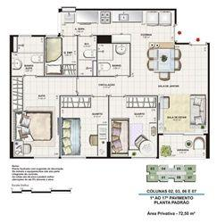 Planta tipo 72,5 m²   Vita Residencial Clube Recife – Apartamento em  Imbiribeira - Recife - Pernambuco