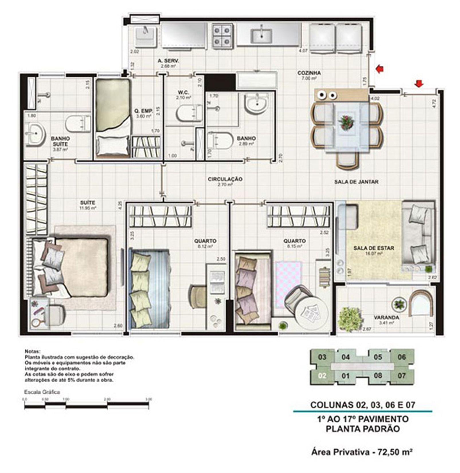Planta tipo 72,5 m²   Vita Residencial Clube Recife – Apartamentoem  Imbiribeira - Recife - Pernambuco