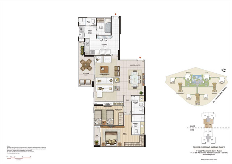 Planta 109,65m² ampliada tulipe, charmant e jardin | Le Parc Boa Viagem – Apartamento em  Boa Viagem - Recife - Pernambuco