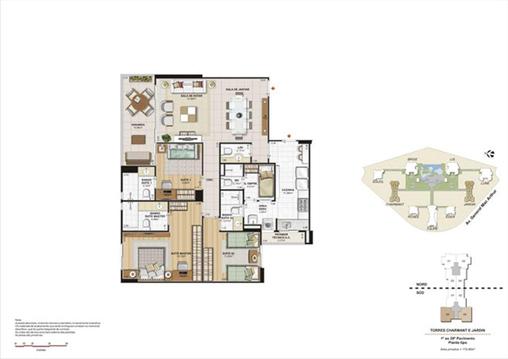 Planta 119,46m² tipo charmant e jardin  | Le Parc Boa Viagem – Apartamentoem  Boa Viagem - Recife - Pernambuco