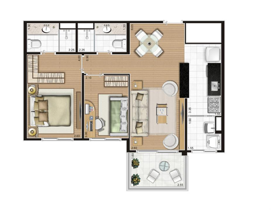 Planta Apartamento -  61m² Privativos | Andalus by Cyrela – Apartamentono  Morumbi - São Paulo - São Paulo