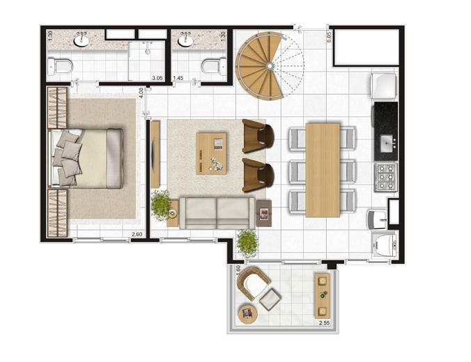 Planta Piso Inferior Duplex - 122m² Privativos | Andalus by Cyrela – Apartamento no  Morumbi - São Paulo - São Paulo