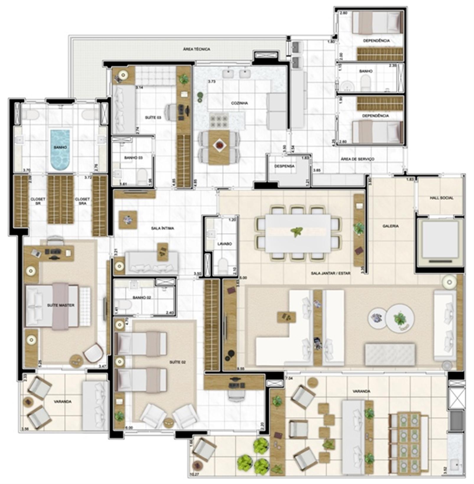 Planta Opção 282 m² Ampliada (3 Suítes) | Infinity Areia Preta – Apartamentona  Areia Preta - Natal - Rio Grande do Norte
