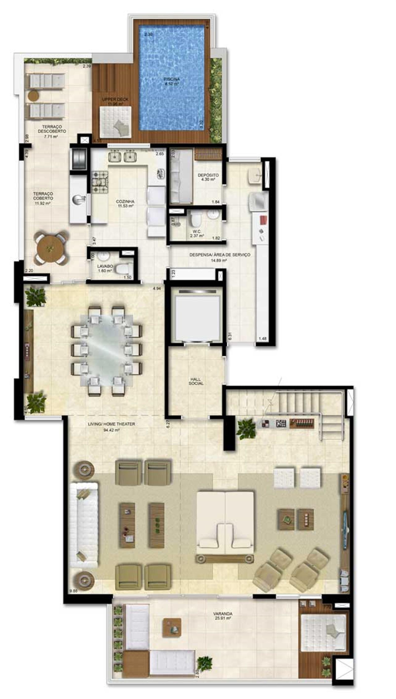 Opção 1 - duplex (PiscinaEspaço Zen) - 330 m² de área privativa | Vitrine Umarizal – Apartamentoem  Umarizal  - Belém - Pará