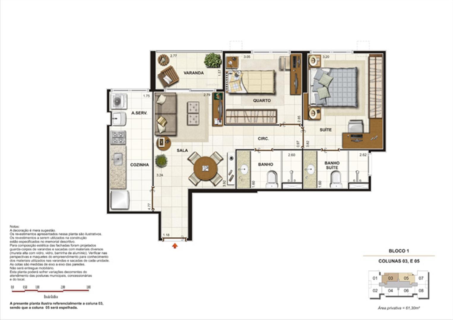 Planta 2 quartos ( 1 suíte) - 61,30m²  | Splendore Family Club – Apartamento em  Campos - Campos - Rio de Janeiro