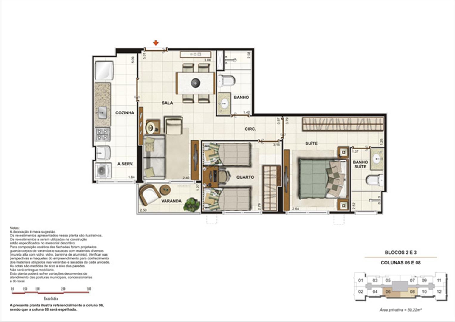 Planta de 2 quartos ( 1 suíte) - 50m² | Splendore Family Club – Apartamento em  Campos - Campos - Rio de Janeiro