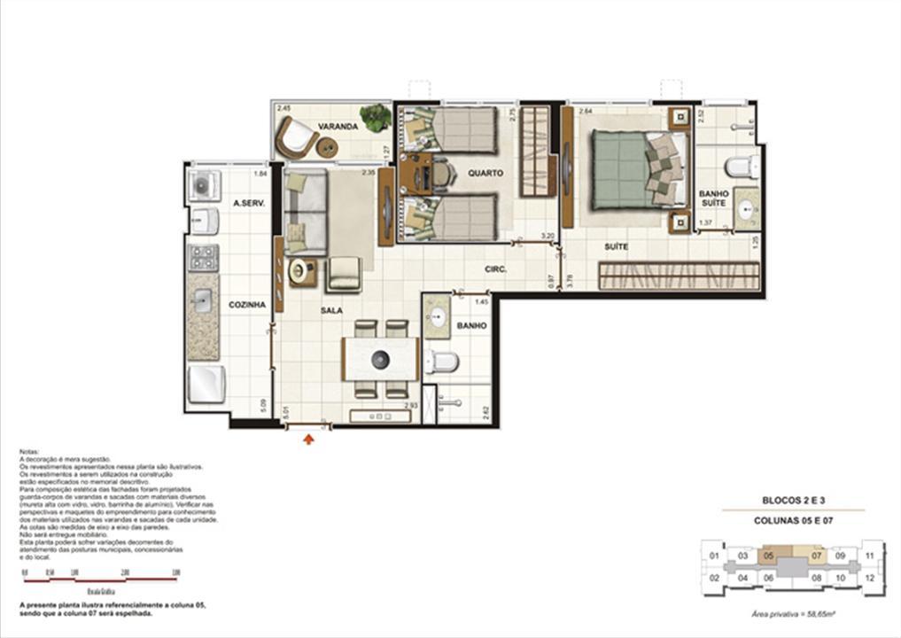 Planta de 2 quartos ( 1 suíte) - 58m² | Splendore Family Club – Apartamentoem  Campos - Campos - Rio de Janeiro