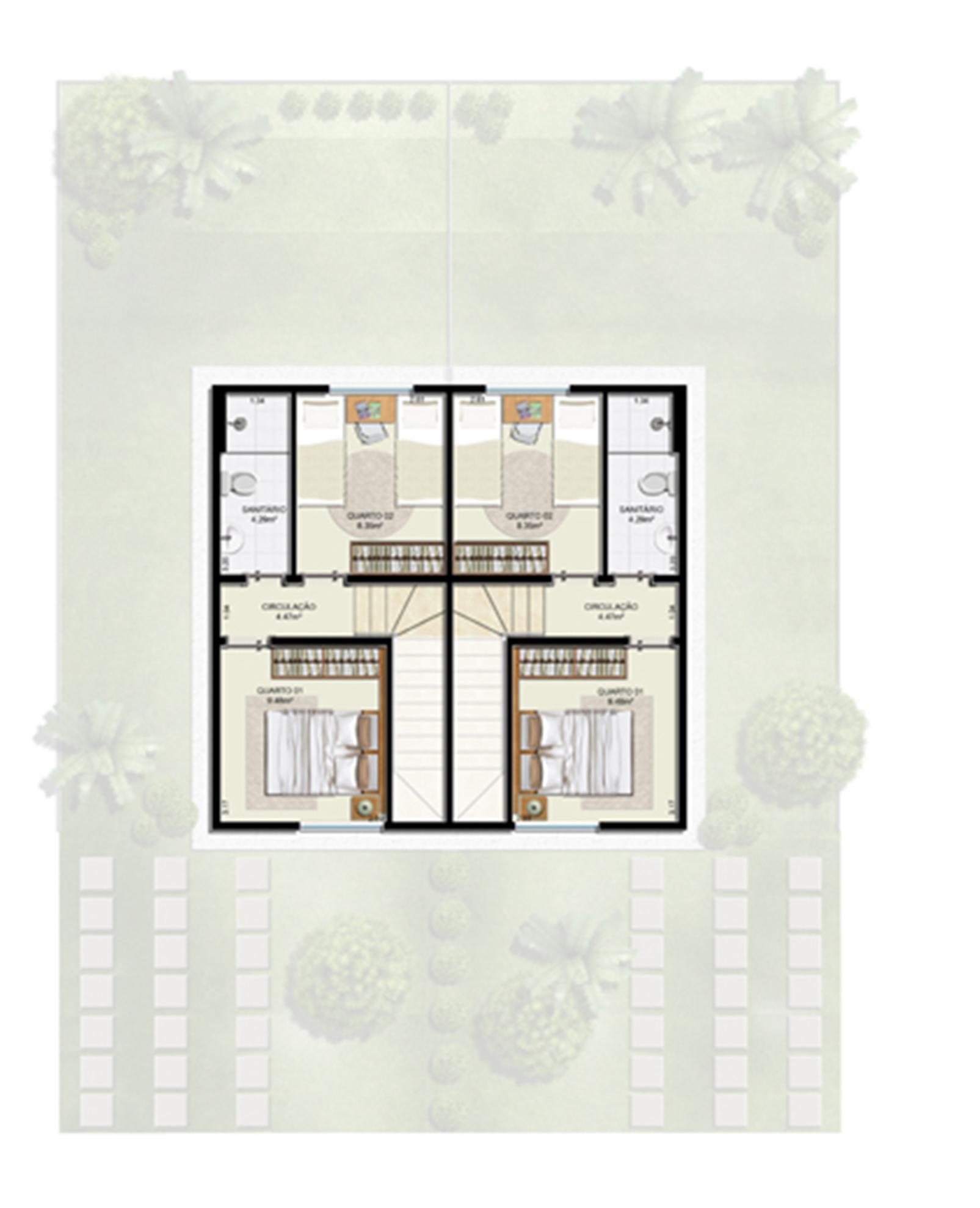 Planta 2 quartos - 1º pavimento - 55 m² - Casa Dupla  | Casas do Bosque – Casano  Cají - Lauro de Freitas - Bahia